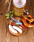 Oktoberfest menu - beer, white sausage, pretzel, radish — Stock Photo