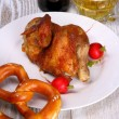 Oktoberfest chicken with pretzel, radish and beer — Stock Photo