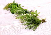 Herbs in bundle on white wooden background — Stockfoto