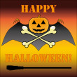 Halloween logo with pumpkin, bat, bones and heading, vector — Stock Vector