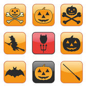 Nine Apps Icon for Halloween as vector illustration — Stock Vector