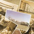 Collage Retro Postkarte, Gondel Service with gondolier at Pier — Stock Photo