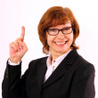 Happy, mature redhead business woman with eyeglasses — Stock Photo #35141593
