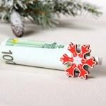 Christmas bonus - hundred euro with red snowflake — Stock Photo #36419477