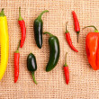 Hot pepper collection on jute background — Stock Photo #37464917