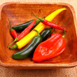 Hot pepper varieties in wood bowl — Stock Photo #38529241