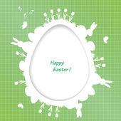 Easter greeting card with egg and rabbit, bird, tulip — Stockvector