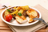 Chicken fillet, rosemary potatoes and mushroom — Stock Photo