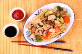 Chicken meat with china noodle, vegetables — Stock Photo