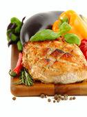 Glazed Roast Pork with vegetables isolated on white background. — Stock Photo