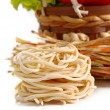 Pasta spaghetti with cherry tomato and salad — Stock Photo #14102593