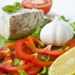 Italian food (cheese, garlic, pepper, basil, salad) over white — Stock Photo