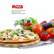 Pizza with ham, pepper and olives over white — Stock Photo #14103436