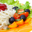 Pasta spaghetti with cherry tomato and salad — Stock Photo #14103439