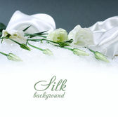 Delicate flower on a silk background — Stock Photo
