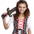 Beautiful girl in a pirate costume isolated — Stock Photo #17599427