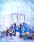 New Year and Christmas Celebration .Two Champagne Glasses in Hol — Stock Photo