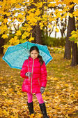 Little girl have fun playing with fallen golden leaves — Stock Photo