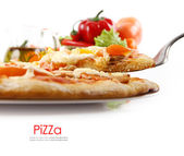 Supreme Pizza lifted slice with tuna and paprika isolated over white background. — Stock Photo