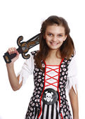 Beautiful girl in a pirate costume isolated — Stok fotoğraf