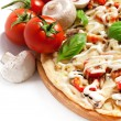 Vegetarian pizza with peppers, mushrooms, tomatoes, olives and b — Stock Photo #25981009