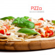 Vegetarian pizza with peppers, mushrooms, tomatoes, olives and b — Stock Photo #25981475