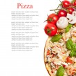 Vegetarian pizza with peppers, mushrooms, tomatoes, olives and b — Stock fotografie