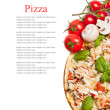 Vegetarian pizza with peppers, mushrooms, tomatoes, olives and b — 图库照片
