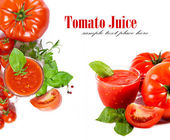 Full glass of fresh tomato juice and plants near it. — Stock Photo