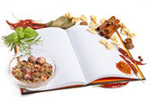 Paper for recipes vegetables, and spices — Stock Photo