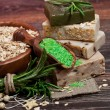 Handmade Soap with the branches of rosemary — Stockfoto