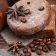 Handmade soap with coffee beans, cinnamon and anise star — Stock Photo #32457487