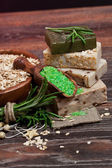 Handmade Soap with the branches of rosemary — Stock Photo