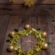 Christmas composition with linden blossom on old wooden table — Photo