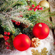 Red christmas Decoration Over Wooden Background. — Стоковая фотография