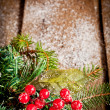 Red christmas Decoration Over Wooden Background. — Stock Photo