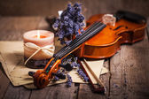 Vintage composition with violin and lavender — Stock Photo