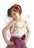 Beautiful girl in a fairy costume with butterfly wings — Stock Photo