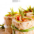 Salmon lavash rolls with fresh salad leafs — ストック写真