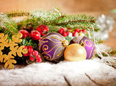 Red christmas Decoration Over Wooden Background. — Photo