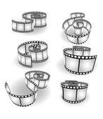 Set of curved photographic film — Stockvektor
