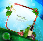 Grape and bottle of wine with reflection — Stock Vector