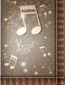 Music jeans texture. — Stock Vector