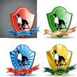 Dog in background set inside a shield — Stock Vector