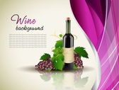 Grape and bottle of wine with reflection — Stock vektor