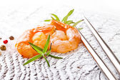 Shrimps with rosemary — Stock Photo