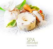 Sea salt, soap and candle — Stockfoto
