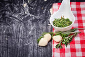 Garlic clove and rosemary — Stock Photo