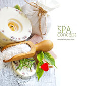 Sea salt, soap and candle — Stock Photo