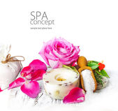 Sea salt, rose, soap and candle — Stock Photo